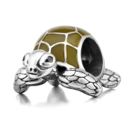 Green Enamel Turtle Charm Bead Solid 925 Sterling Silver Animal Charms Sea Tortoise Pendant Charm