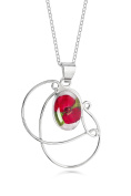 Sterling Silver Swirl Pendant Made With A Real Poppy