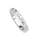 Elements Sterling Silver R2040C 52 Ladies CZ Baguette and Round Stone Ring