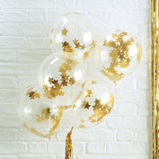 Ginger Ray Gold Star Confetti Filled Clear Party Balloons X 5 Party Decorations- Metallic Star