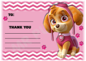 Paw Patrol Thank You For Coming Party Cards - Skye Design - Party Supplies / Accessories (Pack of 12 A6 Thank You Cards)