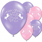 Unicorn Fantasy Lilac Pink Happy Birthday Children's Party Latex Printed Balloons