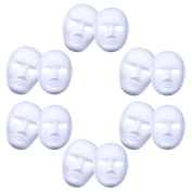 OUTGEEK 12Pcs DIY Mask Plain Paper Handmade Mask Full Face Masquerade Mask for Male and Female Halloween Cosplay Party