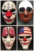 Complete Set of Four - Payday Plastic Fancy Dress Up Masks - Brand New - With Elasticated Straps