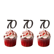 70th Birthday Cupcake Toppers - Pack of 10 - Number 70 Glittery Black
