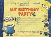 10 x Minion DESPICABLE ME Birthday Party Invitations Pack thick cards + FREE Envelopes