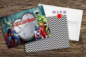 NEW boys Birthday Party Invitations Super hero.Marvel hero,Avengers X 20 CARDS + Envelopes