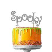 Spooky Halloween Cake Topper - Glittery Silver Cake Topper
