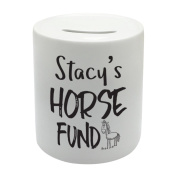 BS086 Your Name' Horse Fund Novelty Gift Printed Ceramic Piggy Bank Money Saving Box