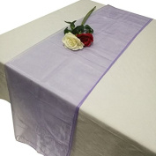 TtS 65cm X 275cm Organza Table Runner Hood Sash Chair Cover Bows Wider Sash Fuller Bows Wedding Party -Lavender