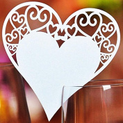 MultiWare 20pcs Wedding Place Glass Laser Cut Pearlescent paper Heart Cards Wine White