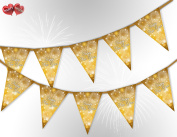 Happy New Year Fireworks Gold Bunting Banner 15 flags for guaranteed simply stylish party decoration by PARTY DECOR