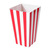 Demiawaking 12Pcs Striped Popcorn Boxes Paper Party Treat Boxes Popcorn Holder Tub Kids for Parties Movie Nights