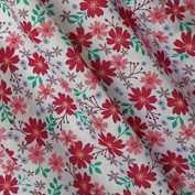 White Polycotton Fabric with Cerise Pink Flowers and Green Leaf