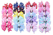 Rzctukltd 20pcs Flower Boutique Handmade Bow Hair Ribbon Clip Pin Alligator Hairpins Sides For Girls Kids Child Teens Accessories