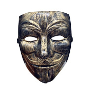 Gold-Bronze V like Vendetta Anonymous Mask mask Guy Fawkes for adults Superhero Halloween Carnival Fasching panel Antidote Horror Unit size Theatrical costume Horrormaske