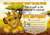 10 x Lion King Children Birthday Party Invitation with white envelopes