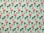 Flamingo Print Polycotton Dress Fabric Mint Green - per metre