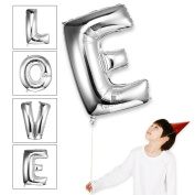 Takefuns 100cm Silver balloons Floating Alphabet A Balloon Birthday Party Decorations Helium Foil Mylar Letter Balloons