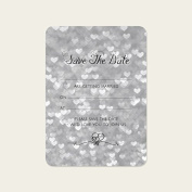 Silver Heart Pattern - Save the Date Cards - Pack of 10