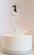 60th Birthday Cake Topper Glamorous Lady in a White & Silver Star Dress and Diamante Number. Non Edible