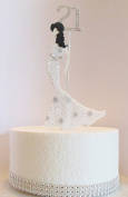 21st Birthday Cake Topper Glamorous Lady in a White & Silver Star Dress and Diamante Number. Non Edible