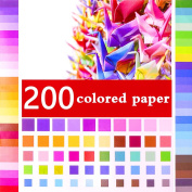 GeMoor 200 Sheets Origami Paper, Vivid Colours Single Sided Paper for Arts and Crafts Projects