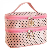Double-deck Travel Toiletry Beauty Cosmetic Bag Makeup Case Organizer Zipper Holder Handbag Pink Color