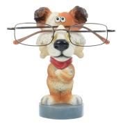 Novelty Reading Glasses Holder Brown Dog With Bone Specs Stand Figure Hand Painted Resin Statue Sunglasses