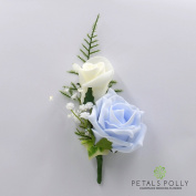 Artificial Wedding Flowers Hand-made by Petals Polly, DOUBLE FOAM ROSE BUTTONHOLE IN BABY BLUE & IVORY