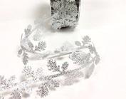 Bertie's Bows Metallic Silver Leaf Garland 33mm Ribbon on a 3m Length