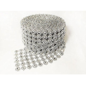 Merssavo DIY Rhinestone Crystal Sparkle Ribbon Diamond Flower Mesh Wrap Roll Hand Work Crafting Sewing