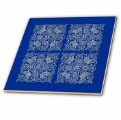 3dRose Chinese Folk Art Design White, Blue, 30cm -Ceramic