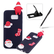 TPU Case for Samsung Galaxy S7 Edge,Soft Rubber Cover for Samsung Galaxy S7 Edge,Herzzer Ultra Slim Stylish 3D Christmas Santa Claus Series Design Scratch Resistant Shock Absorbing Flexible Silicone Back Case - Black