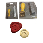 Deluxe Wax Stamp Kit, PAW PRINT Animal Pet Design Hexagonal Seal and Red Wax Stick - XWSH012