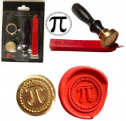 Wax Stamp, Pi SYMBOL Maths Coin Seal and Red Wax Stick XWSC174-KIT