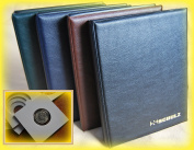 SCHULZ Self Adhesive Coin Holders Album for 120 coins in cardboard 2x2 from small till large coin - with pages and white dividers + index - BROWN