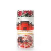 Souarts Red Decorative Craft Tape Paper Art Tapes for DIY Crafts and Gift Wrapping Office Party Supplies 5Pcs