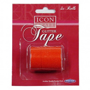 Decorative Glitter Tape - Red, Pack of 3 x 5 Metre