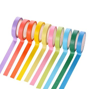 Hybsk 10 Rolls Colour Candy Decorative Washi Tape Rainbow Sticky Paper Masking Adhesive Tape