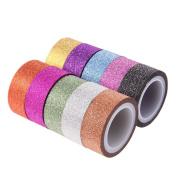 10pcs Rainbow Glitter Masking Tape Decorative DIY Scrapbooking Adhesive