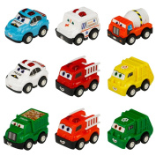 Vehicles Trucks Set with 9 Pcs Mini Cars Push Back Toys Car for Boys Girls Car Lovers 3 4 5 6 Years Old