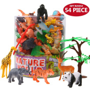 Animals Figure,54 Piece Mini Jungle Animals Toys Set With Gift Box,Zoo World Realistic Wild Animal Learning Resource Party Favours Toys For Boys Kids Toddlers Forest Small Farm Animals Toys Playset