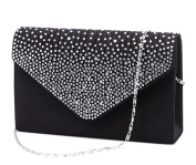 Women Clutch Bag Rhinestone Frosted , ClasiChic Classic Pleated Envelope Clutch Shoulder Bag Evening Handbag Purse