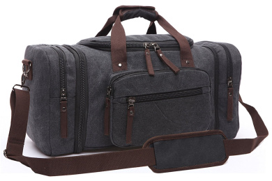 Aidonger Unisex Canvas Bag Holdall Weekend Bag Overnight Bag Travel Carry On Duffles Bags for Men and Women (Black)