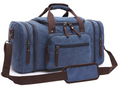 Aidonger Unisex Canvas Bag Holdall Weekend Bag Overnight Bag Travel Carry On Duffles Bags for Men and Women (Dark Blue)