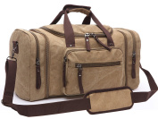 Aidonger Unisex Canvas Bag Holdall Weekend Bag Overnight Bag Travel Carry On Duffles Bags for Men and Women