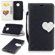 For Motorola Moto G5 Case [with Free Screen Protector], Qimmortal(TM) Flip Magnetic Closure Wallet Inside Wallet Stand Folio Book Style With Credit Card Slots Case Cover Shell Lovely Heart Shaped Design Elegant Vintage Luxury PU Leather For Motorola Mo ..