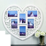 Imitation solid wood love picture frame, 15cm creative conjoined photo wall, wedding photo family photo frame