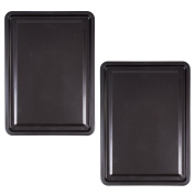 2x Large 30cm Steel Oven Baking Trays - Non-Stick Rectangle Roasting Tin/Sheet/Pans